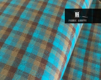 Flannel Fabric, Mammoth Plaid Flannel, Aqua Plaid, Flannel Pants fabric, Farmhouse decor, Robert Kaufman, Mammoth Flannel in Surf 215