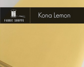 Kona cotton solid quilt fabric, Kona LEMON 23, Kona fabric, Solid fabric Yardage, Kaufman, Yellow fabric, Choose the cut