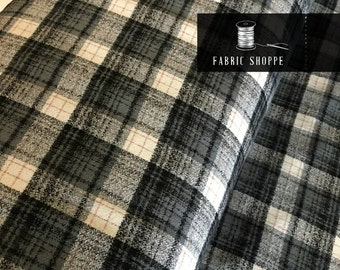 Gray Plaid, Mammoth Plaid Flannel, Gray Plaid, Christmas Flannel, Plaid Scarf fabric, Robert Kaufman, Mammoth Flannel in Smoke 293