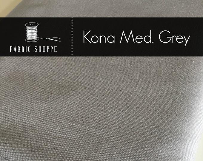 Kona solid fabric, solid quilt fabric, Kona MEDIUM GREY 1223, Gray fabric, Solid fabric Yardage, Kaufman, Cotton fabric, Choose the c