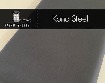 Kona cotton solid quilt fabric, Kona STEEL 91, Gray fabric, Solid fabric Yardage, Kaufman, Cotton fabric, Choose the cut
