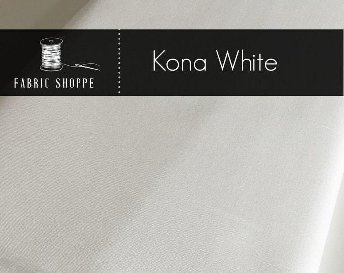 Kona solid fabric, quilt fabric, Kona WHITE K001-1387, Kona fabric, Solid fabric Yardage, Kaufman, Cotton fabric by the yard, Choose the cut