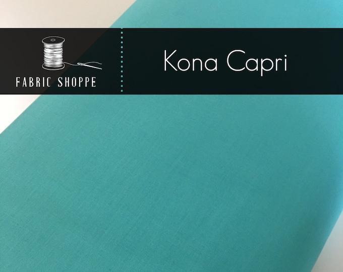 Kona cotton solid quilt fabric, Kona CAPRI 442, Aqua fabric, Solid fabric Yardage, Kaufman, Cotton fabric, Choose the cut