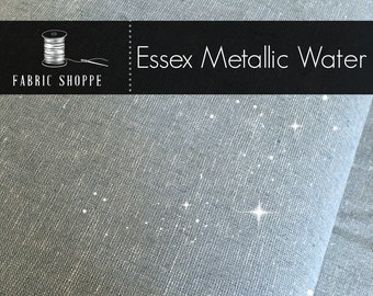 Essex Fabric, Silver fabric, Linen Blanket Fabric, Metallic fabric, Sparkle Fabric, Linen Skirt Fabric, Essex Linen, Metallic Essex in Water