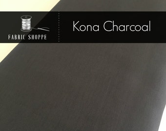 Kona cotton solid quilt fabric, Kona CHARCOAL 1071, Gray fabric, Solid fabric Yardage, Kaufman, Cotton fabric, Choose the cut