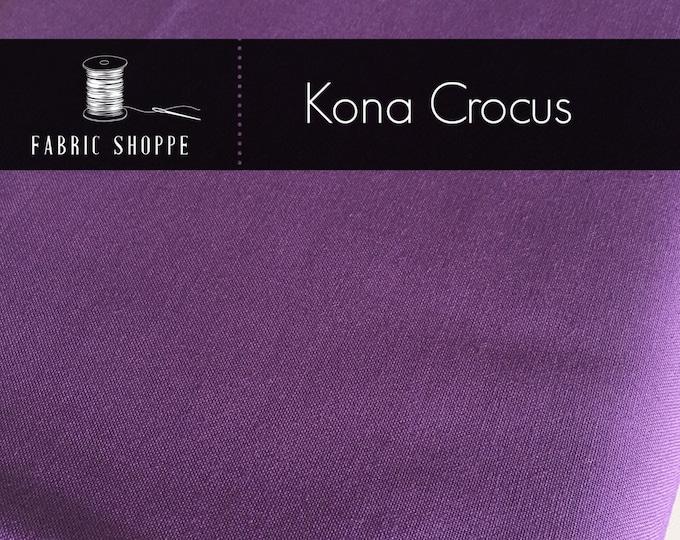 Kona cotton solid quilt fabric, Kona CROCUS 142, purple fabric, Solid fabric Yardage, Kaufman, Cotton fabric, Choose the cut