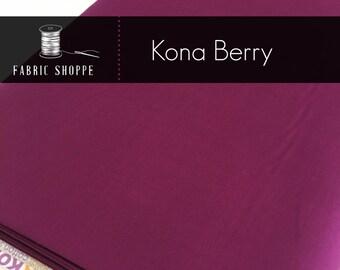 Kona cotton solid quilt fabric, Kona BERRY 1016, Kona fabric, Solid fabric Yardage, Kaufman, Wine fabric, Choose the cut