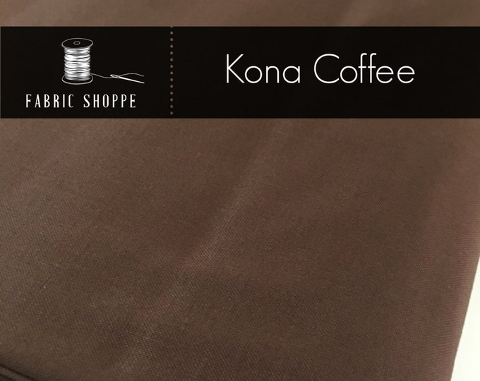 Kona cotton solid quilt fabric, Kona COFFEE 1083, Brown fabric, Solid fabric Yardage, Kaufman, Cotton fabric, Choose the cut