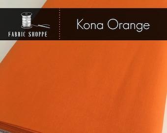 Kona cotton solid quilt fabric, Kona ORANGE 1265, Kona fabric, Solid fabric Yardage, Kaufman, Orange fabric, Choose the cut