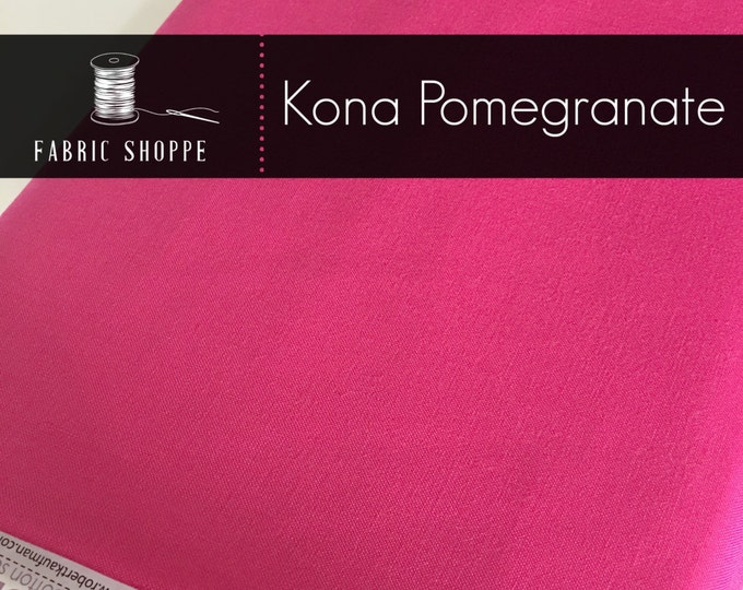 Kona cotton solid quilt fabric, Kona POMEGRANATE 1295, Kona fabric, Solid fabric Yardage, Kaufman, Pink fabric, Choose the cut