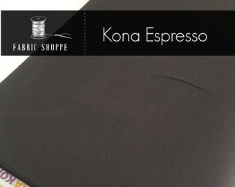 Kona cotton solid quilt fabric, Kona ESPRESSO 1136, Brown fabric, Solid fabric Yardage, Kaufman, Cotton fabric, Choose the cut