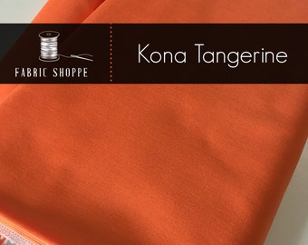 Kona cotton solid quilt fabric, Kona TANGERINE 1370, Kona fabric, Solid fabric Yardage, Kaufman, orange fabric, Choose the cut