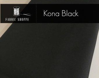 Kona cotton solid quilt fabric, Kona BLACK 1019, Kona fabric, Solid fabric Yardage, Kaufman, Cotton fabric by the yard, Choose the cut