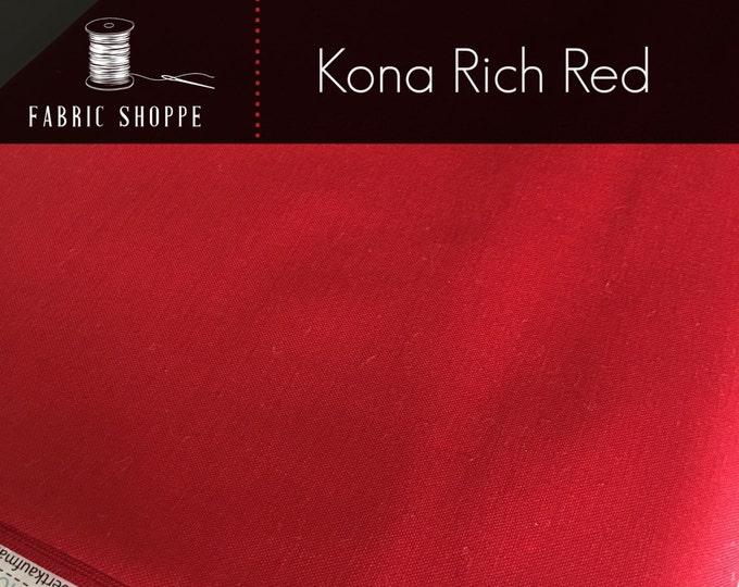 Kona cotton solid quilt fabric, Kona RICH RED 1551, Kona fabric, Solid fabric Yardage, Kaufman, Christmas fabric, Choose the cut