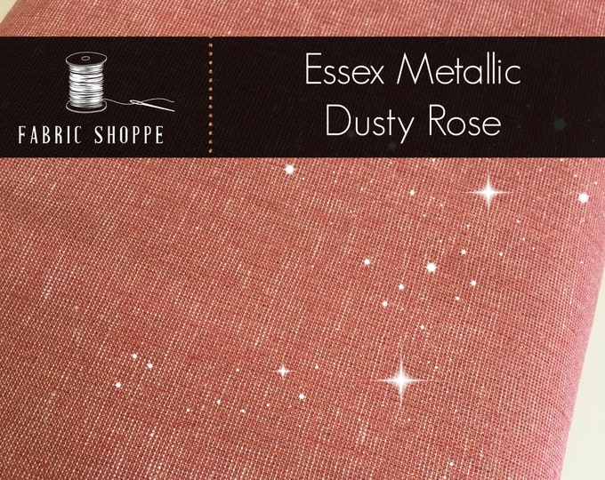 Essex Fabric, Gold fabric, Linen Blanket Fabric, Metallic fabric, Sparkle Fabric, Linen Skirt Fabric, Essex Linen, Metallic Essex Dusty Rose