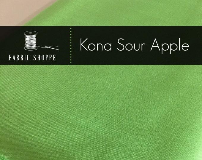 Kona cotton solid quilt fabric, Kona SOUR APPLE 144, Kona fabric, Solid fabric Yardage, Kaufman, Green fabric, Choose the cut