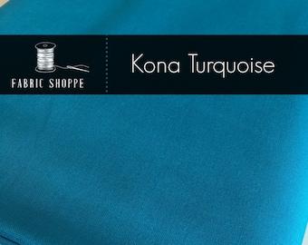 Kona cotton solid quilt fabric, Kona TURQUOISE 1376, Kona fabric, Solid fabric Yardage, Kaufman, Blue fabric, Choose the cut