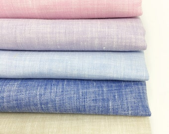 Natural Linen Fabric bundle, soft colorful fabric bundle of 6 for quilts, embroidery, linen napkins or baby blankets