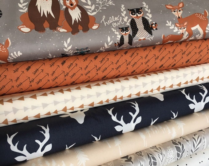 Fabric by the Yard, Quilting fabric bundle, 100% cotton, Woodland Baby Quilt fabric, Bear Quilt, Hello Bear, Bundle of 8, Choose the Cuts