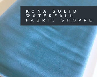 Kona cotton solid quilt fabric, Kona WATERFALL 1866, Solid fabric Yardage, Kaufman, Quilting Cotton fabric, Choose the cut