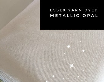 Rustic Wedding Fabric, Fabric for Linen Dress or Linen Bedding, Cotton Linen Blend, Iridescent Sparkle Fabric, Metallic Essex in Opal