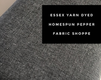 Essex Linen Homespun, Linen Blend fabric, Essex Yarn Dyed, Apparel Fabric, Dress fabric, Yarn Dyed fabric, Essex Homespun in Pepper