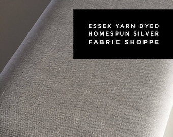 Essex Linen Homespun, Linen Blend fabric, Essex Yarn Dyed, Apparel Fabric, Dress fabric, Yarn Dyed fabric, Essex Homespun in Silver