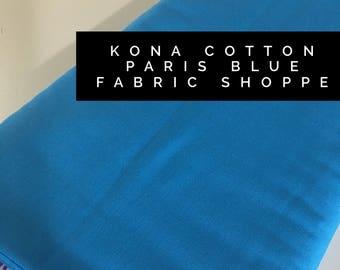 Kona cotton solid quilt fabric, Kona PARIS BLUE 1864, Solid fabric Yardage, Kaufman, Quilting Cotton fabric, Choose the cut