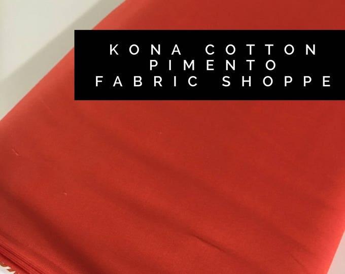 Kona cotton solid quilt fabric, Kona PIMENTO 1865, Solid fabric Yardage, Kaufman, Quilting Cotton fabric, Choose the cut