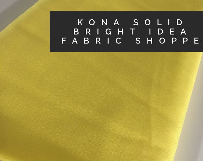 Kona cotton solid quilt fabric, Kona BRIGHT IDEA 1838, Solid fabric Yardage, Kaufman, Quilting Cotton fabric, Choose the cut