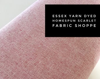 Essex Linen Homespun, Linen Blend fabric, Essex Yarn Dyed, Apparel Fabric, Dress fabric, Yarn Dyed fabric, Essex Homespun in Scarlet