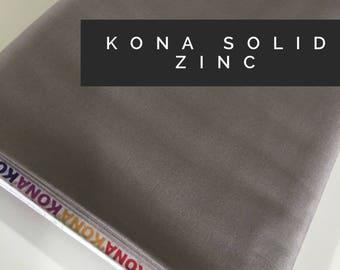 Kona cotton solid quilt fabric, Kona ZINC 1859, Solid fabric Yardage, Kaufman, Quilting Cotton fabric, Choose the cut