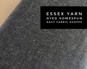Essex Linen Homespun, Linen Blend fabric, Essex Yarn Dyed, Apparel Fabric, Dress fabric, Yarn Dyed fabric, Essex Homespun in Navy