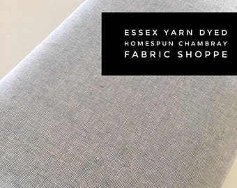 Essex Linen Homespun, Linen Blend fabric, Essex Yarn Dyed, Apparel Fabric, Dress fabric, Yarn Dyed fabric, Essex Homespun in Chambray