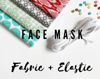FACE MASK fabric, Homemade Face Masks fabric pack, Cotton Fabric perfect to make Homemade Face Masks, PLUS 3 yards Elastic, Free Shipping!