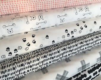 Woodland Nursery, Neutral Nursery, Baby Shower Gift, Black White Decor, Bear, Art Gallery Fabric- Nest Fabric Bundle of 7