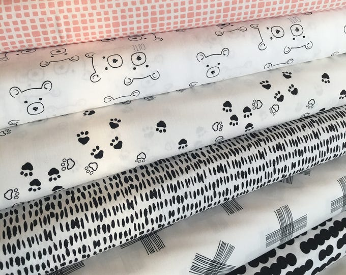 Woodland Nursery, Neutral Nursery, Baby Shower Gift, Black White Decor, Bear, Art Gallery Fabric- Nest Fabric Bundle of 7
