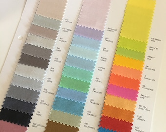 NEW 2017 Kona Color Card Supplement, Kona Swatches, The 2017 NEW 37 colors, Quilting Cottons, Cotton Solid Fabric Chart, Robert Kaufman
