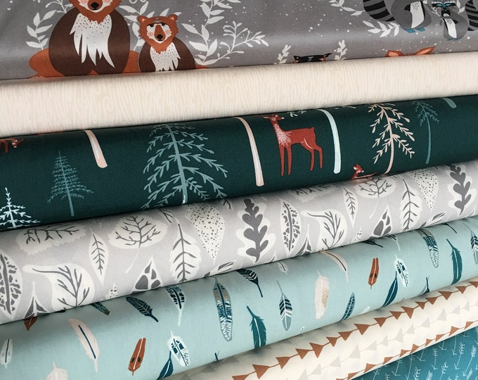 Baby blanket fabric, Patchwork Quilt Fabric, Woodland Nursery Fabric, Deer, Baby Shower Gift, Hello Bear Fabric Bundle of 8, Choose the Cut