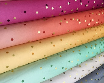 Wedding fabric, Ombre Confetti fabric by Vanessa Christenson, Gold Metallic Decor, Quilting, Bundle of 7 fabrics, Choose the Cuts