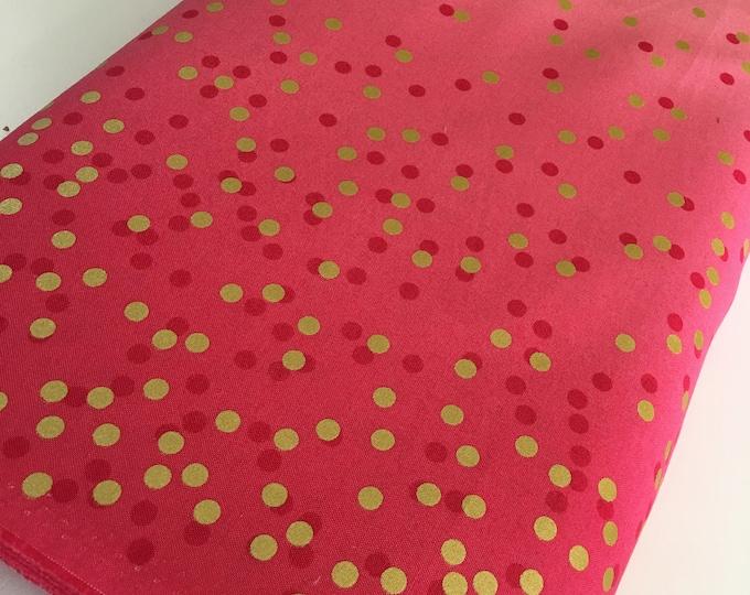 Ombre Confetti fabric by Vanessa Christenson, Gold Metallic Decor, Wedding fabric, Quilting, Ombre Confetti in Hot Pink, Choose The Cut