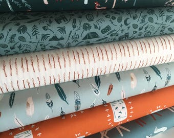 Campsite fabric, Camping, S'mores, Feather, Kids fabric, Deer, Art Gallery, Fabric Bundle of 6- Choose the Cut, Free Shipping Available