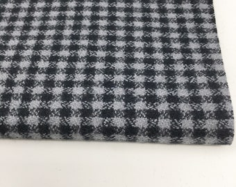 Flannel Plaid Fabric, Handmade Scarf Fabric, Apparel Fabric, Mammoth Flannel by Robert Kaufman, Mini Black and Gray Check, Black Plaid 106