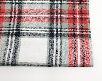Red White Plaid, Scarf Fabric, Cozy Flannel, Mammoth Flannel fabric, Flannel by the yard, Mammoth Flannel White