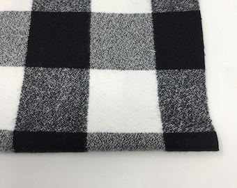 Black White Buffalo Plaid, Scarf Fabric, Cozy Flannel, 1.5 inch Mammoth Flannel fabric, Flannel by the yard, Mammoth Flannel White