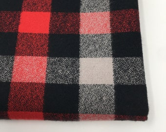 Flannel Fabric, Mammoth Plaid Flannel, Buffalo Plaid, Red and Black Flannel, Lumberjack Chic, by Kaufman, Mammoth Flannel in Gray Red 125
