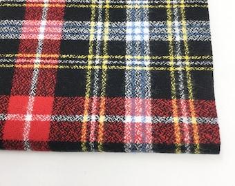 Christmas Plaid, Mammoth Plaid Flannel, Red Plaid, Black Flannel, Flannel Scarf Fabric, Robert Kaufman, Mammoth Flannel in Jet 190