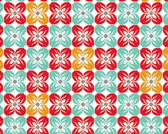 SALE fabric, discount fabric, Red Fabric, Floral fabric by Joel Dewberry, Square Petal, Quilting fabric, Quilting Cotton