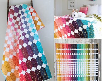 Abacus Ombre quilt pattern, V and Co Quilting Patterns, Rainbow Decor, Ombre Confetti, Modern Quilt, Teen Decor, Baby Quilt