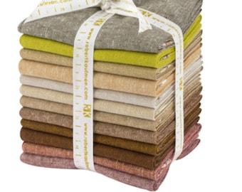 Linen Blanket Fabric, Cotton Linen, Fat Quarters, Essex Linen Terrerium Warm, Essex Yarn Dyed, Essex Metallic, Quilting Fabric, Bundle of 12